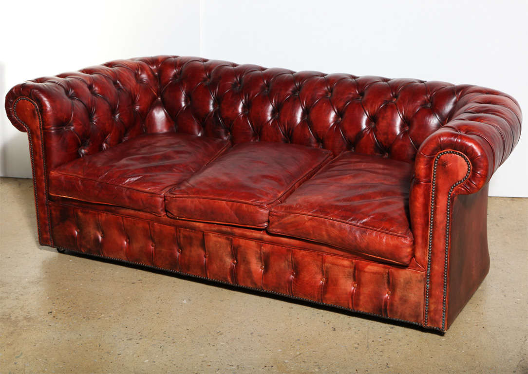 red leather sleeper sofa kebo futon bed size mahogany chesterfield and