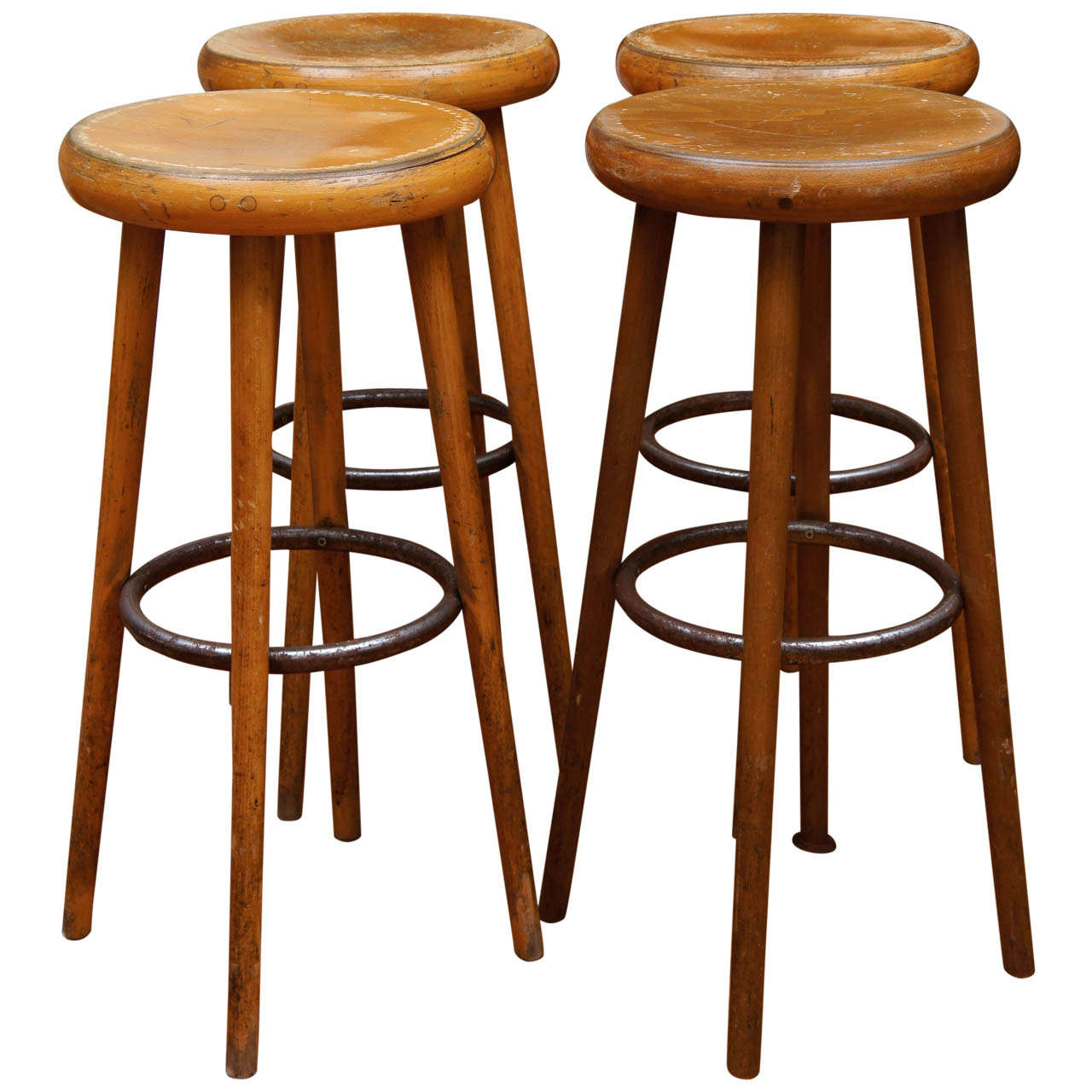 industrial bistro chairs open back club french bar stools at 1stdibs