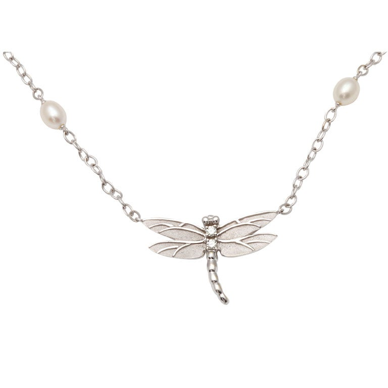 TIFFANY AND COMPANY Dragonfly Pendant With Pearl Chain at
