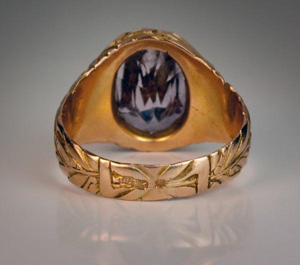 vintage amethyst monogrammed mens ring