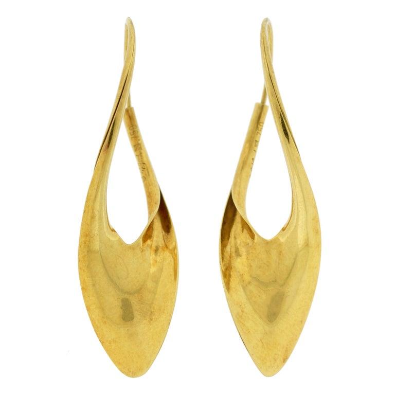MICHAEL GOOD Half Twist Gold Earrings at 1stdibs