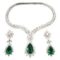 Pear Shape Emerald and Diamond Necklace and Earring Set at ...