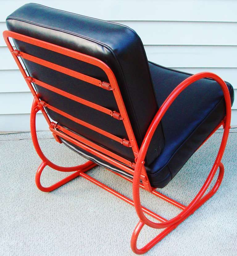 2 piece rocking chair cushions outdoor lift american art deco red enamelled steel and companion lounge at 1stdibs
