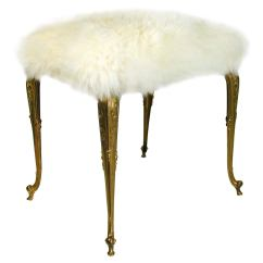 Vanity Chair White Fur Perfect Reading Hollywood Regency Upholstered Sheep Bronze