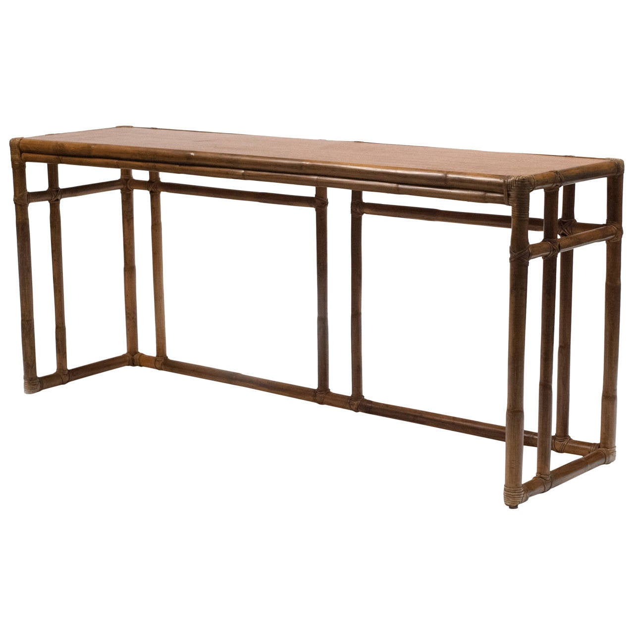 legare bamboo sofa table black set philippines vintage mcguire console at 1stdibs