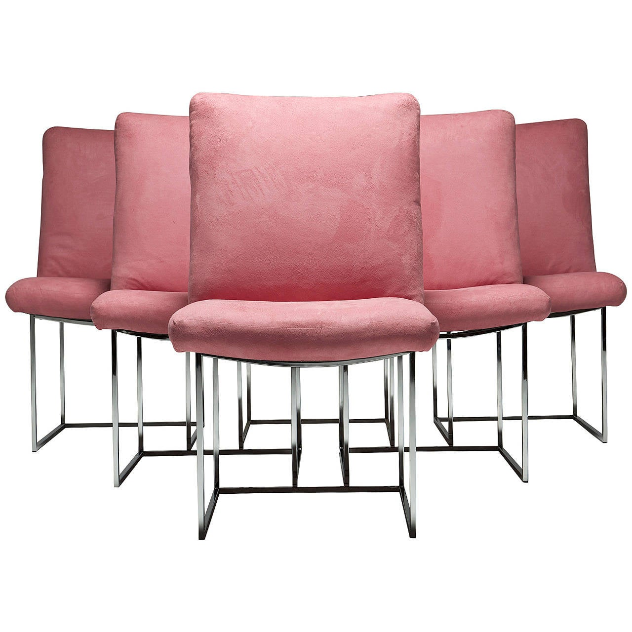 suede dining table chairs outdoor teak six chrome frame milo baughman in pink ultra