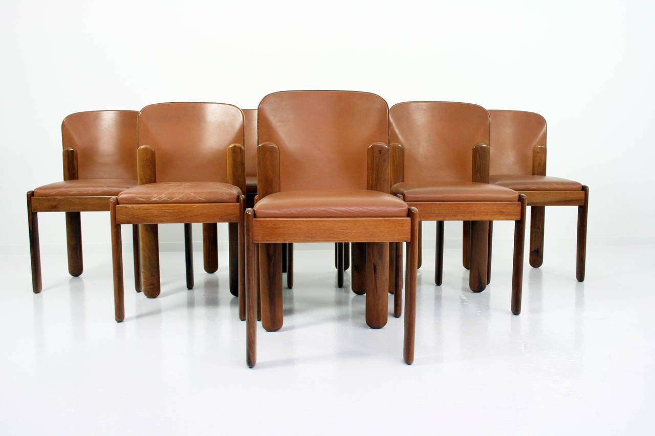 Italian Dining Chairs Silvio Coppola Set Of Eight Italian Walnut And Leather