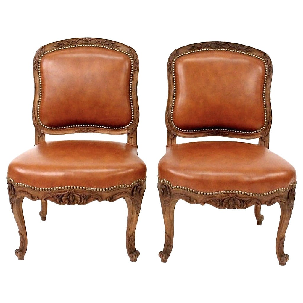 leather slipper chair chocolate arm dining pair of french louis xv style chairs by