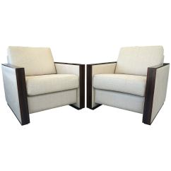 Art Deco Style Club Chairs Ergonomic Chair Tailbone Pair Of Jean Michel Frank In