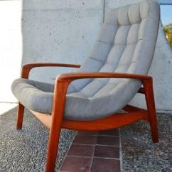 Teak Lounge Chair Wheelchair Seat Danish Modern Style Button Tufted