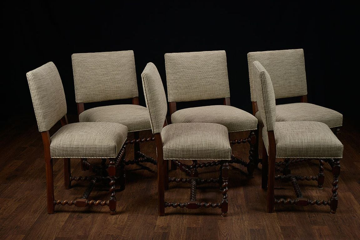 Low Back Chairs Set Of 6 Vintage French Walnut Low Back Dining Chairs At