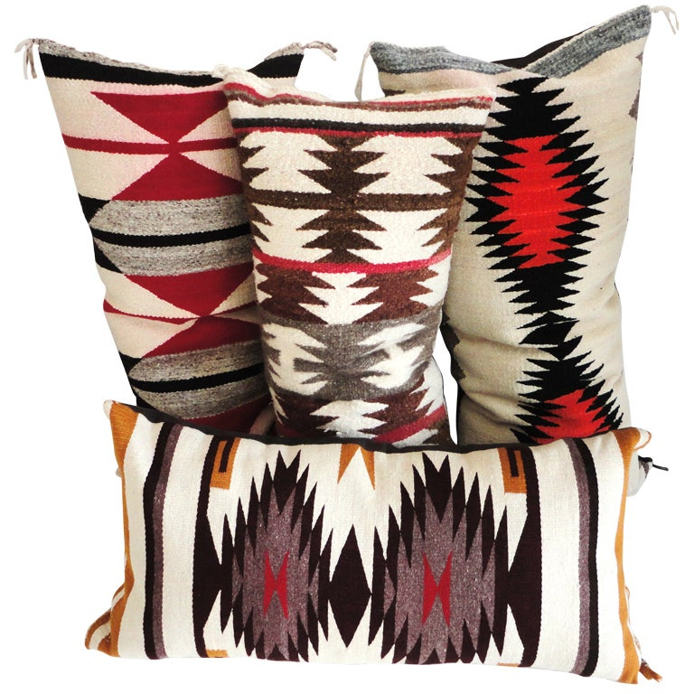 Navajo Indian Weaving Bolster Pillows Collection of 4 at