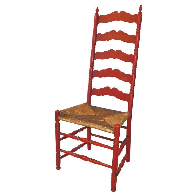antique ladder back chairs with rush seats glider rocking chair walmart 19thc original salmon painted tall ladderback /rush seat at 1stdibs