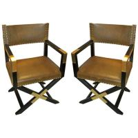 A Pair of Ebonized Leather and Brass Director's Chairs at ...