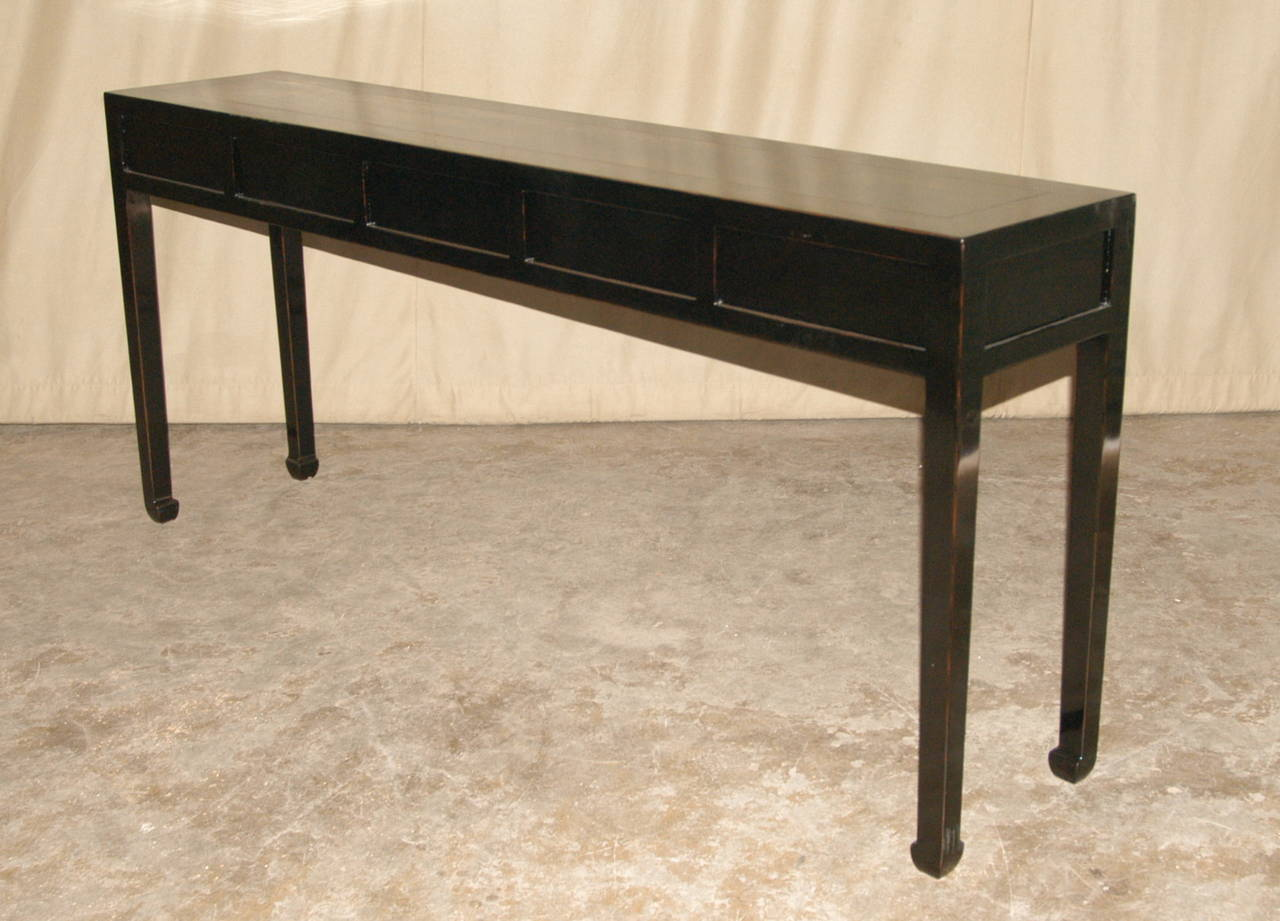 black lacquer sofa table mattress for bed ikea console with drawers at 1stdibs