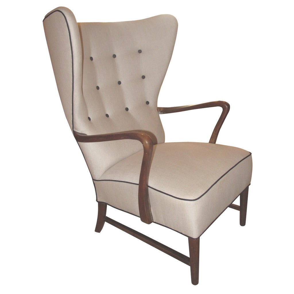 large wingback chair electric lift recliner sale scale danish 1940s wing with crook form arms