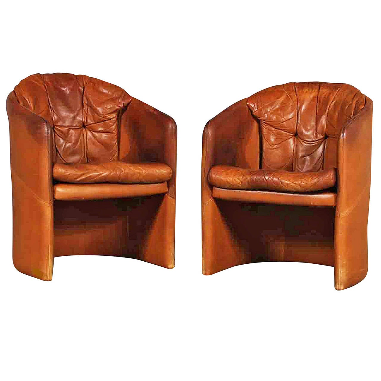 small leather accent chairs sunbrella chair covers pair of danish 1960s upholstered tub