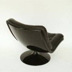 Black Leather Swivel Lounge Chair Golden Tech Chairs Tufted Fiberglass By