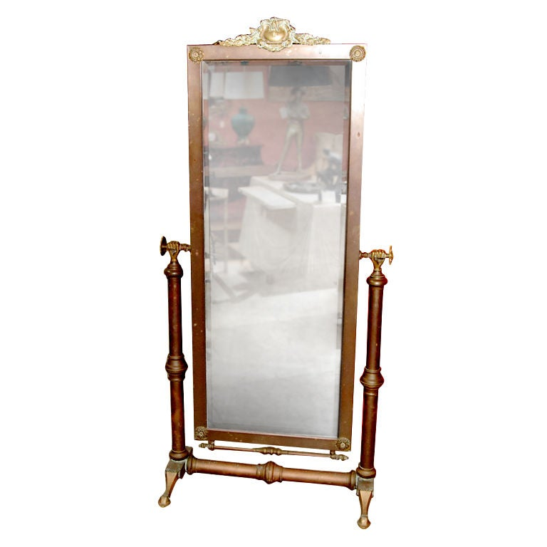 1920s Brass Floor Mirror From MGM Studios at 1stdibs