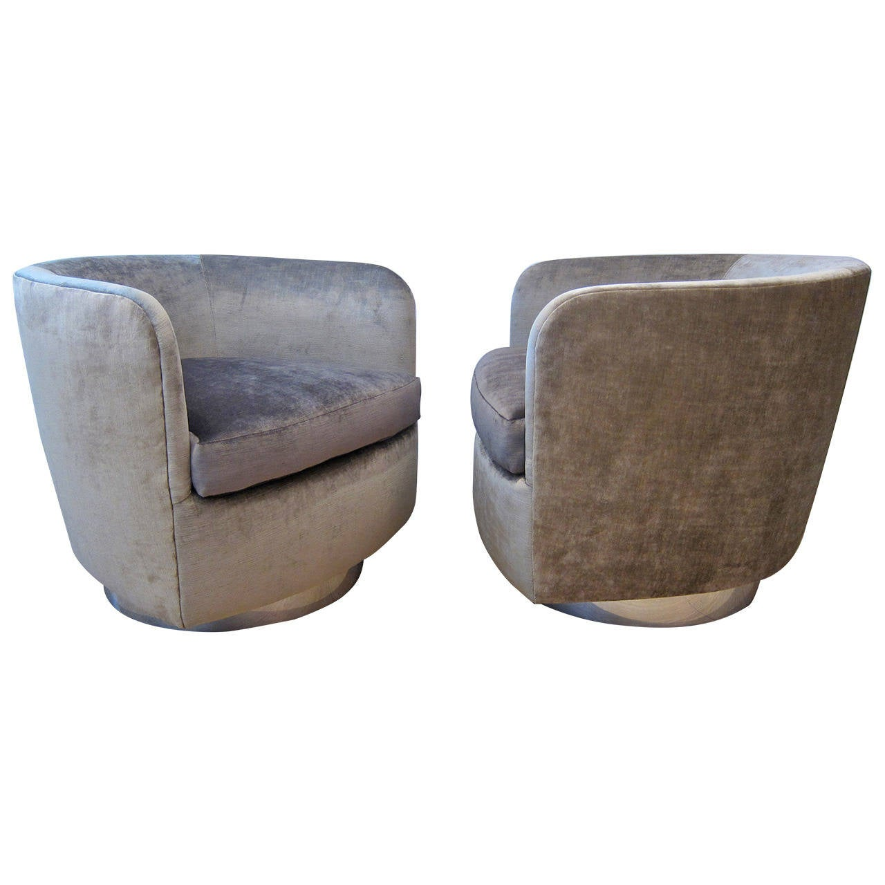 the revolving chair miami covers vaughan pair of milo baughman swivel chairs for thayer coggin at