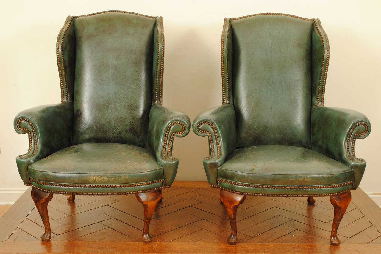 Queen Anne Wingback Chair Pair Of Italian Queen Anne Style Walnut And Leather