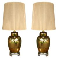 Pair of Mercury Glass Ginger Jar Table Lamps at 1stdibs