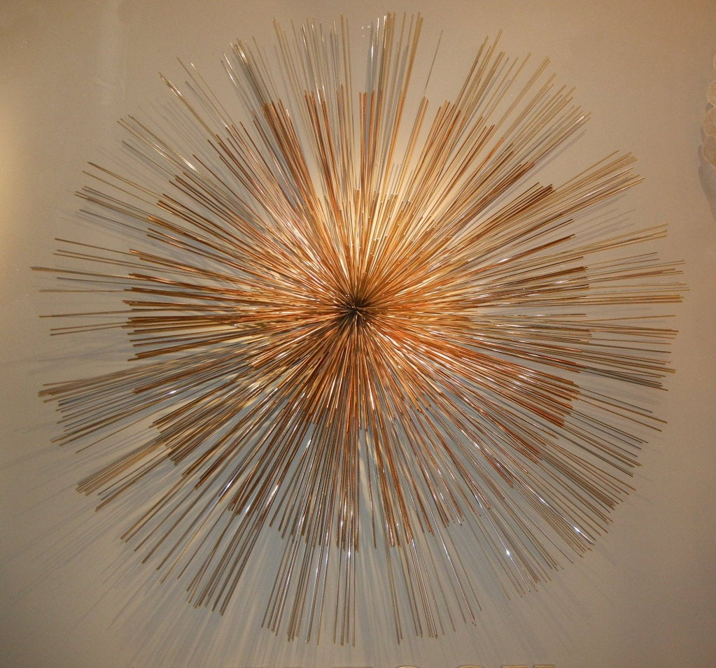 Signed Curtis Jere Multi Toned Starburst Metal Wall Sculpture At 1stdibs