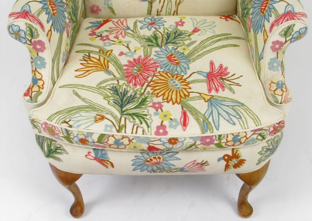 teal wingback chair jet 3 power colorful floral wool crewel upholstered wing at 1stdibs