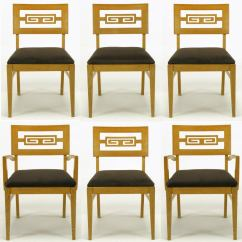 Oak And White Dining Chairs Foldable Portable High Chair Six Carved Greek Key At 1stdibs