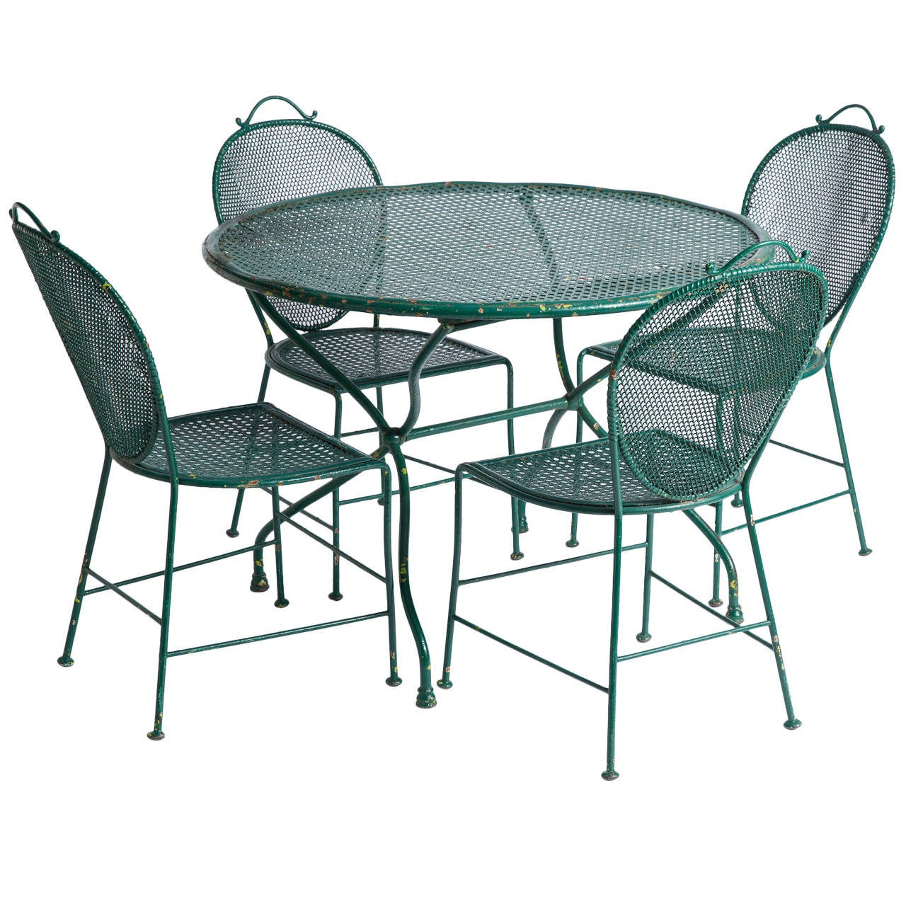 parisian table and chairs white dining set of 4 french wrought iron garden circa 1900 at