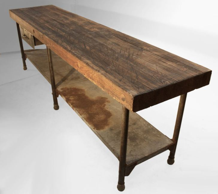 Large Early Industrial Work Table Kitchen Island 1stdibs