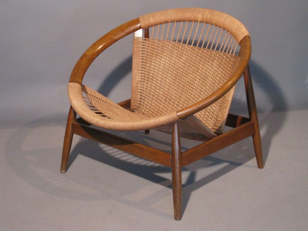 circular lounge chair compact office danish hardwood and rope at 1stdibs