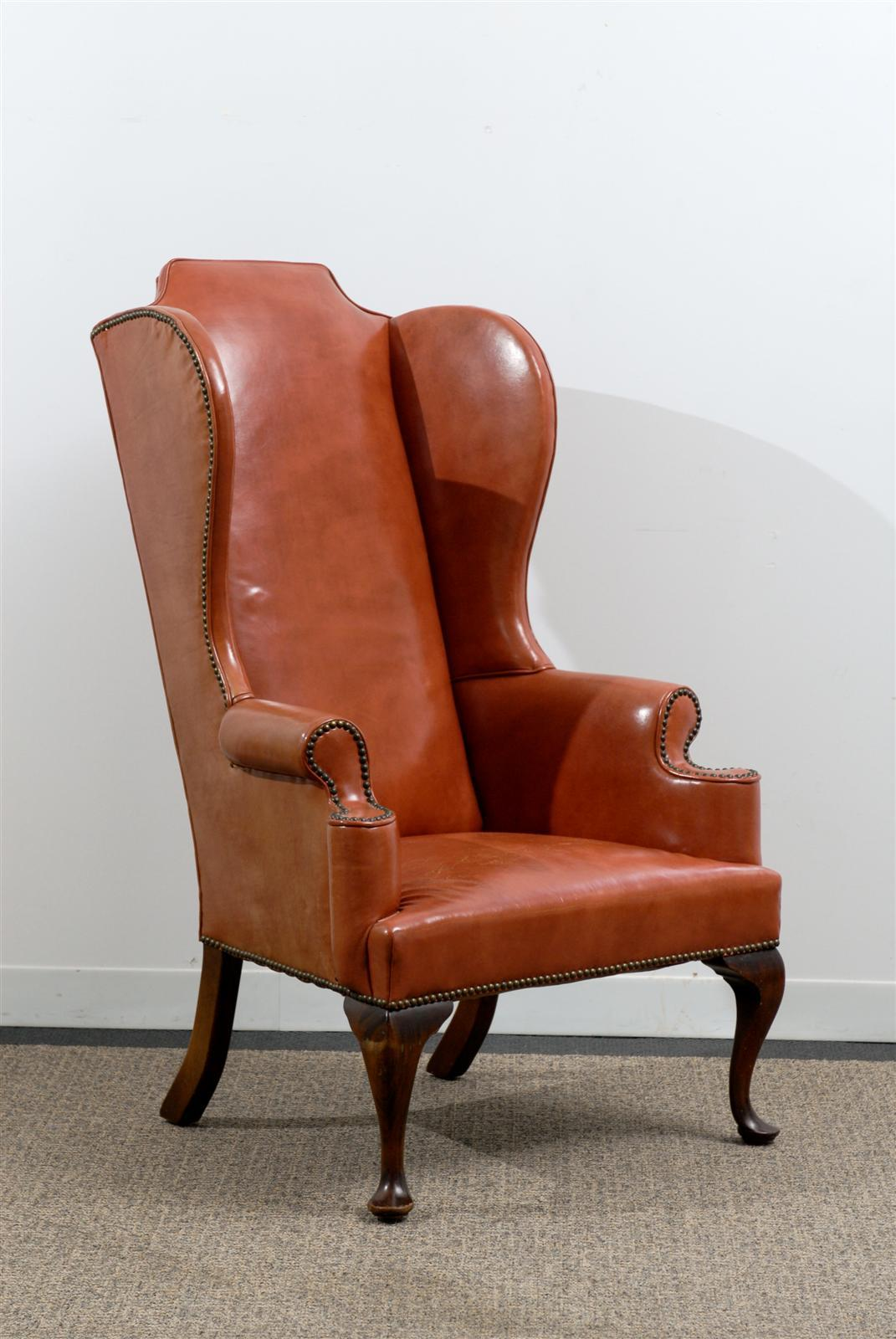 Orange Leather Chair Leather Queen Anne Style Wing Chair In Burnished Orange