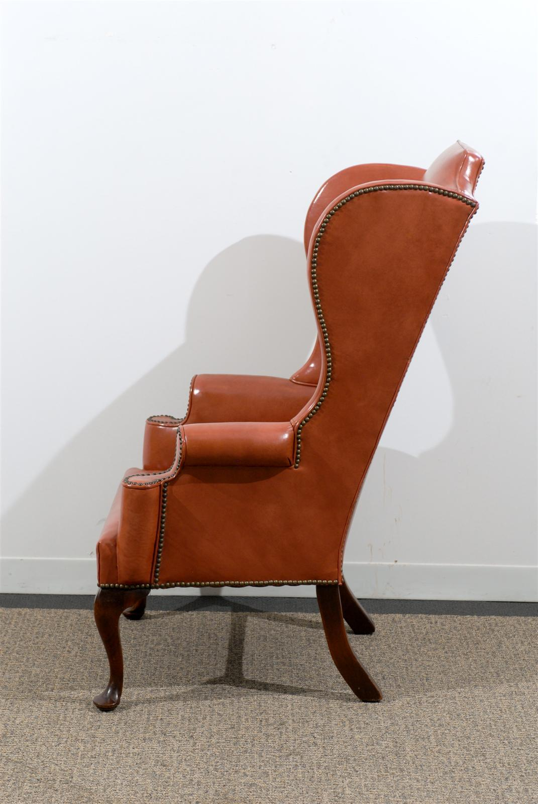 queen anne wingback chair leather folding outdoor chairs australia style wing in burnished orange