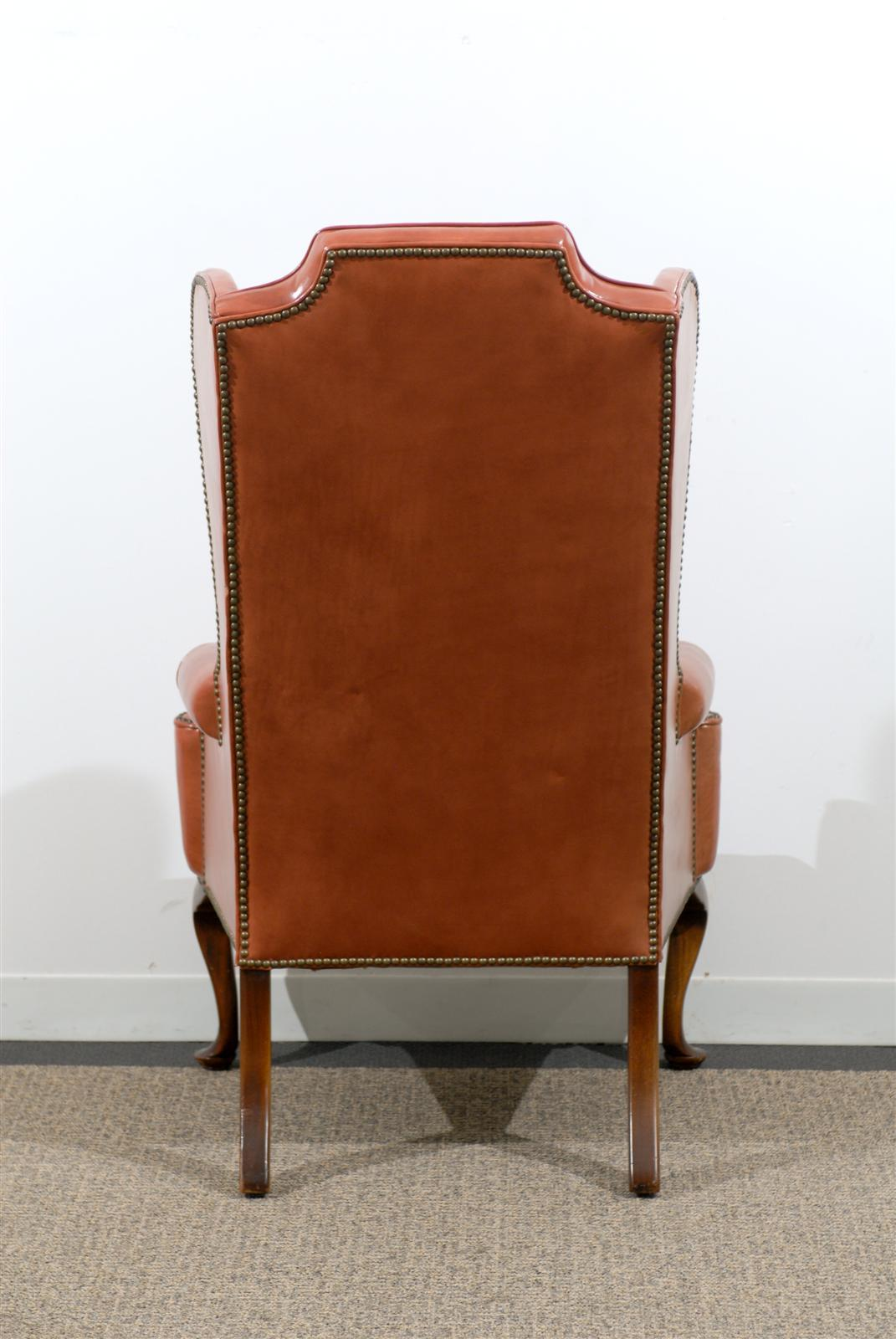 queen anne wingback chair leather ikea chairs poang style wing in burnished orange