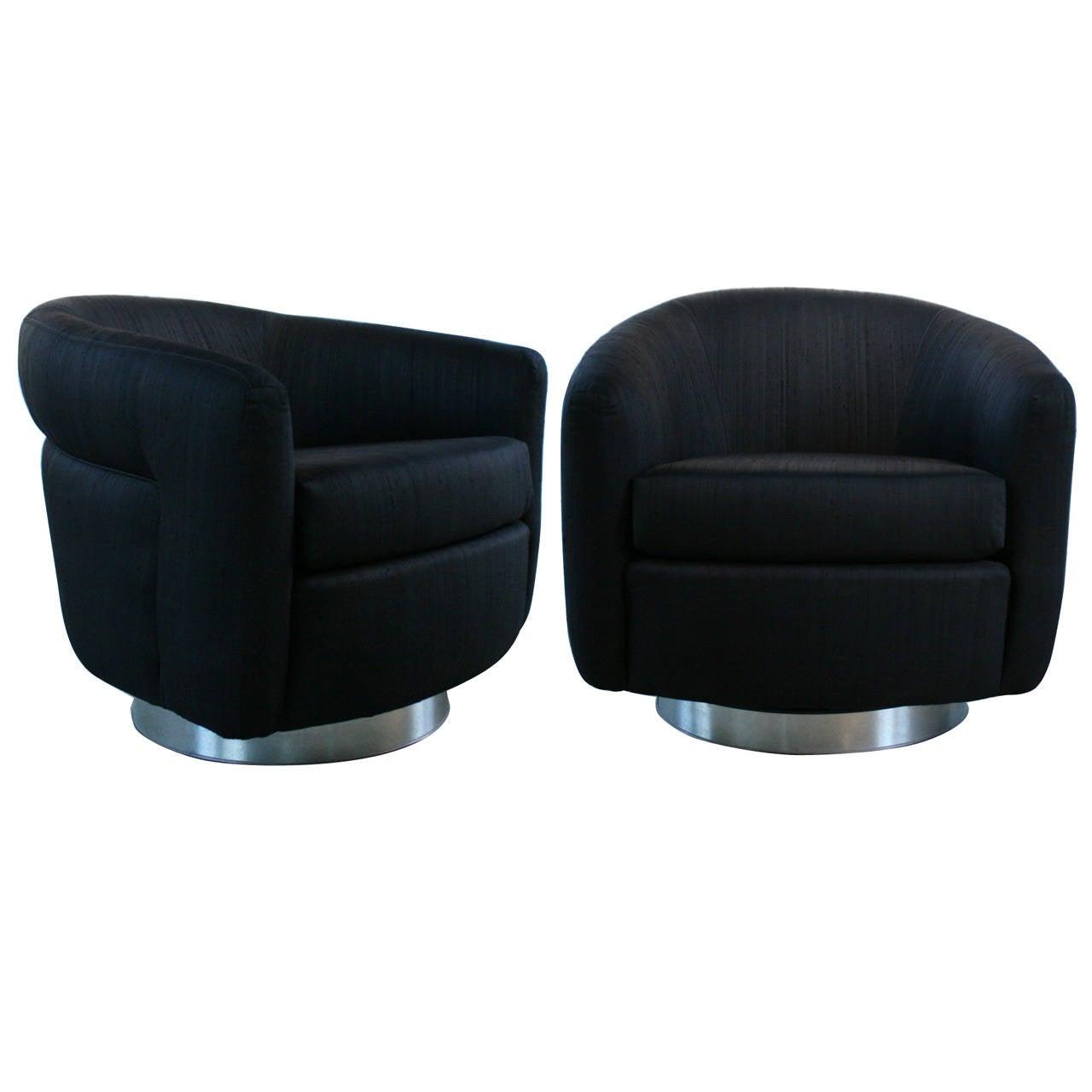 barrel chairs swivel rocker wheel chair in olx pair of milo baughman black and rocking