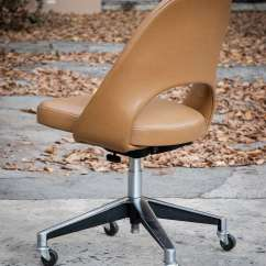 Desk Chair Without Wheels Mickey Rocking Saarinen Vintage Leather With Casters For Knoll 1957 At 1stdibs