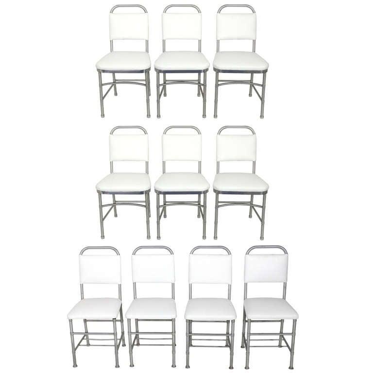 Set of Ten Aluminum Dining Chairs by Warren McArthur at
