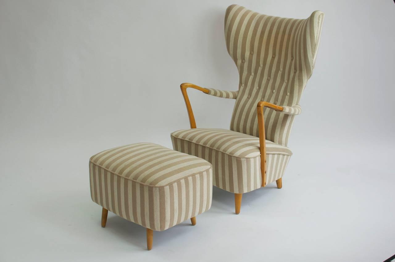 swedish high chair inflatable fishing 1950s back lounge and ottoman at 1stdibs