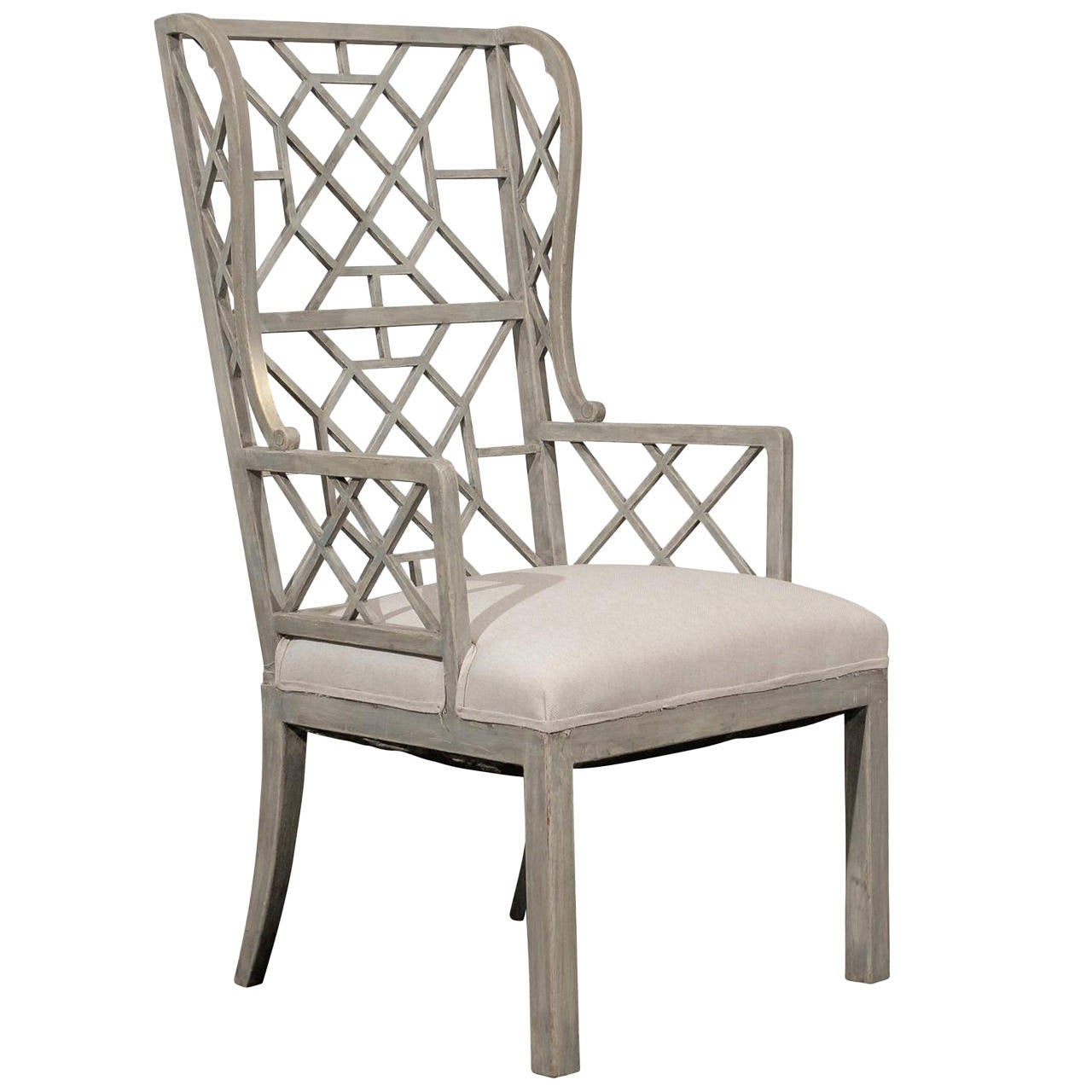 Chinese Chair Chinese Chippendale Light Grey Or Blue Painted Wood High