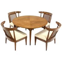 Mid-Century Modern Bridge Game Table with Four Chairs Set ...