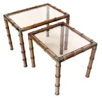 Mid-Century Modern Faux Bamboo Nesting Stacking Tables at ...