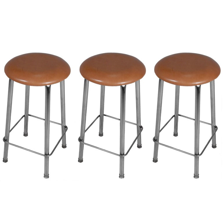 Set Of 3 Chrome And Tan Leather Button Stools At 1stdibs
