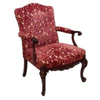 Victorian Padded Arm Chair with Cranberry Floral Brocade