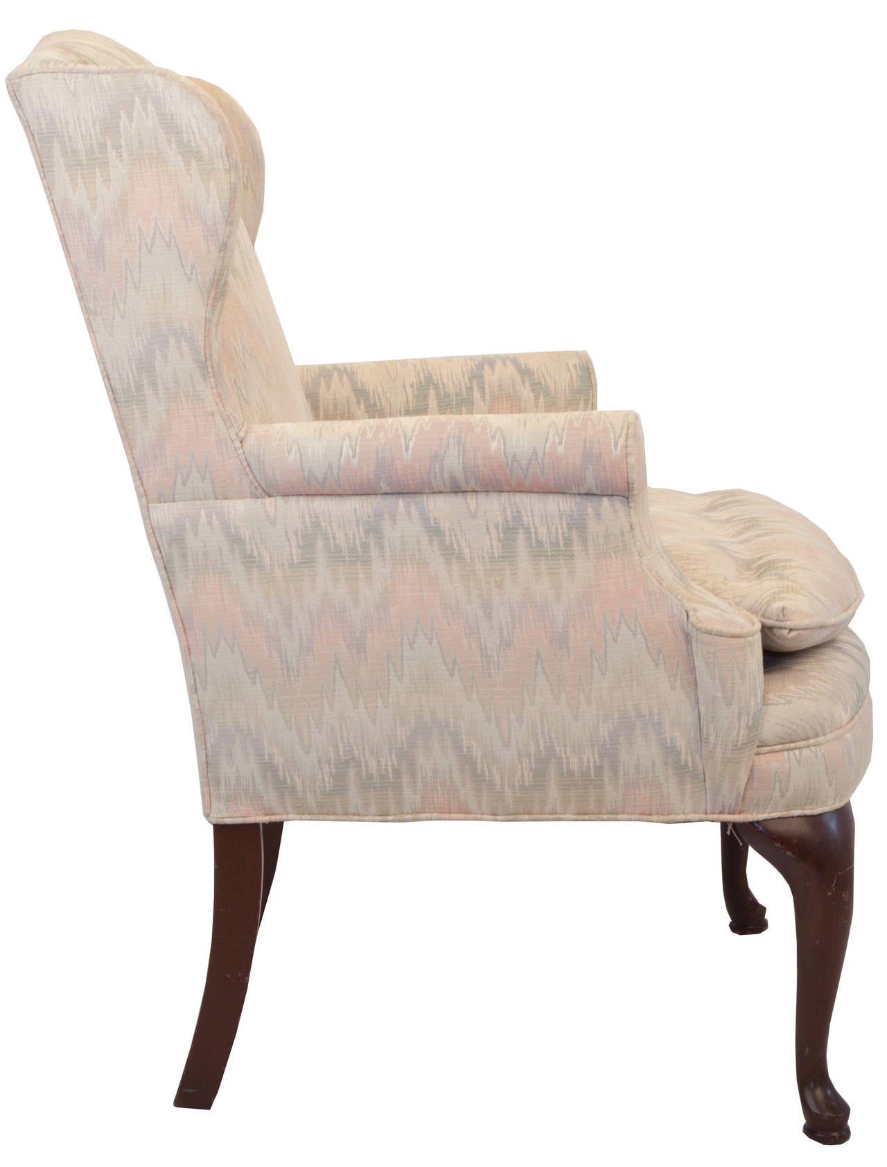 queen anne style chair steel bd upholstered wing at 1stdibs