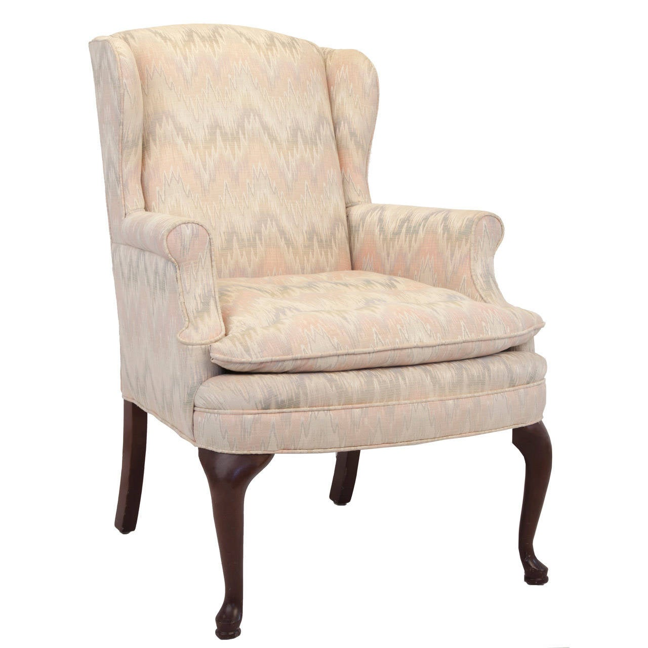 Queen Anne Wingback Chair Queen Anne Style Upholstered Wing Chair At 1stdibs