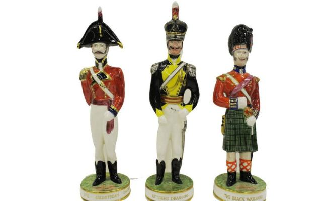Set Of Six Clarice Cliff Hand Painted English Regimental