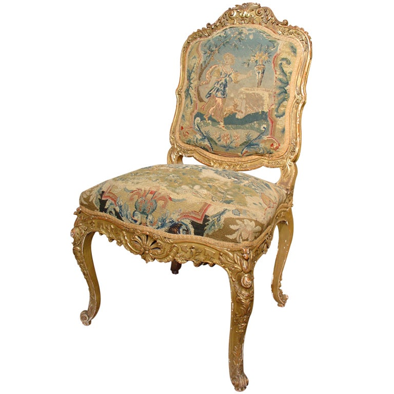 Circa 1800 French Giltwood And Tapestry Chair at 1stdibs