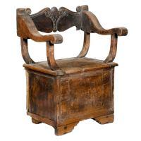 Italian Renaissance Carved Walnut Cabinet Chair, 15th