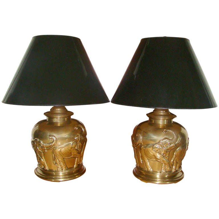 Pair of Frederick Cooper Brass Elephant Table Lamps at 1stdibs